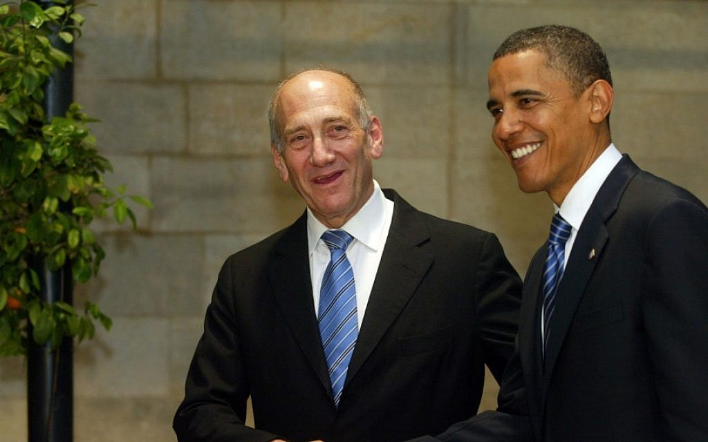 Then-prime minister Ehud Olmert meets with Barack Obama in Jerusalem in 2008 (photo credit: Olivier Fitoussi/Flash90)
