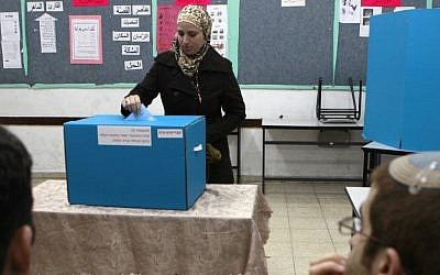 An Arab Israeli woman casts her vote at a polling station in the Arab village of Abu Ghosh, west of Jerusalem, on February 10, 2009. (photo credit: Nati Shohat/Flash90)