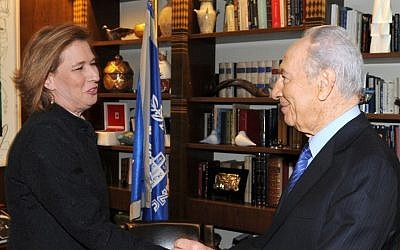 Tzipi Livni and Shimon Peres meeting in 2009. (photo credit: Moshe Milner/GPO)