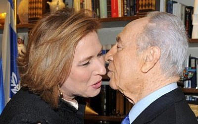 Shimon Peres, right, and Tzipi Livni in 2009 (photo credit: Moshe Milner/GPO/Handout)
