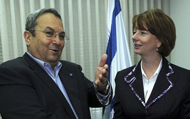 Julia Gillard, then Australia's deputy prime minister, meets Defense Minister Ehud Barak in Jerusalem, June 2009 (photo credit: Assaf Ravitz/Ministry of Defense/Flash90)