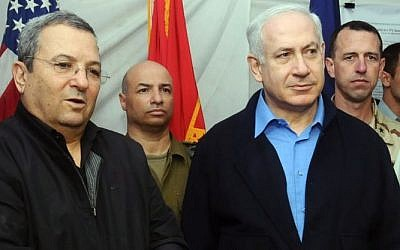 Prime Minister Benjamin Netanyahu and Defense Minister Ehud Barak, pictured in Haifa in 2009 (photo credit: IDF Spokesperson/FLASH90)