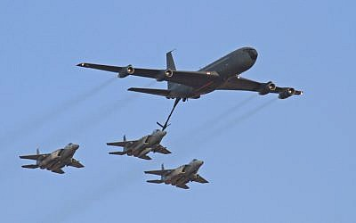 Three F-15s refueling from a Boeing 707 during a 2010 air show (photo credit: Ofer Zidon/Flash 90)
