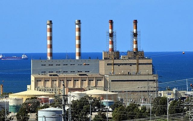 File:  power station in Haifa bay (Photo credit: Shay Levy/Flash 90)