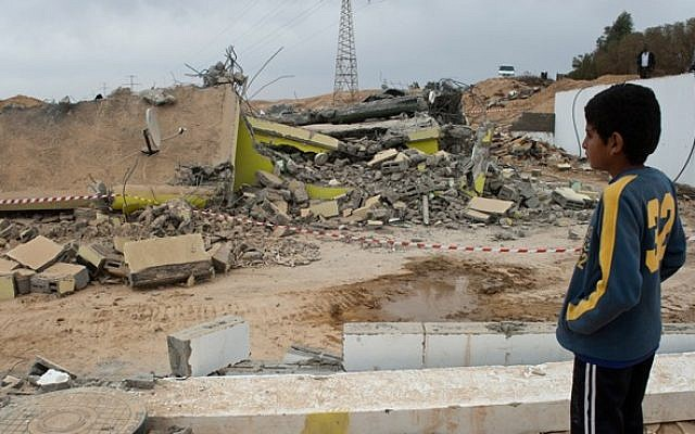 A demolished house in an unrecognized Bedouin village in the Negev, December 2010 (photo credit: Jorge Novominsky/Flash90)