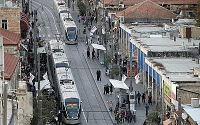 The light rail along Jaffa Road in the center of Jerusalem in 2011 (photo credit: Nati Shohat/Flash90)