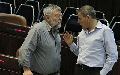 Meretz MK Ilan Gilon, left, speaks with fellow party member Nitzan Horowitz in the Knesset last November (photo credit: Miriam Alster/Flash90)