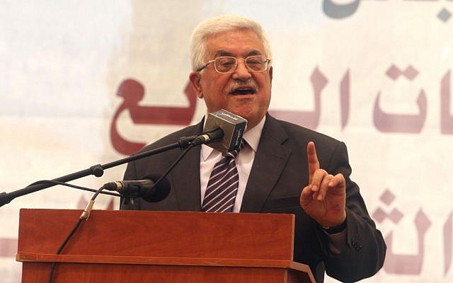 Palestinian Authority President Mahmoud Abbas addresses students in August 2012 (photo credit: Issam Rimawi/Flash90)