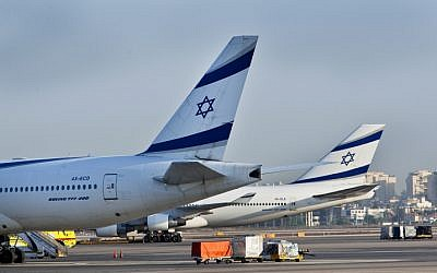 Airplanes seen at Ben Gurion International Airport, August 14, 2012. (Moshe Shai/Flash90)