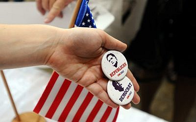 Election swag on display at a debate hosted at Tel Aviv University about the two candidates running for the presidency of the United States (photo credit: Yossi Zeliger/Flash90)
