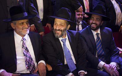 Shas political leaders (left to right) Eli Yishai, Aryeh Deri and Ariel Atias, November 2012 (photo credit: Yonatan Sindel/Flash90)