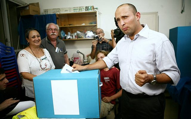 Naftali Bennett, running for leader of the Jewish Home party, votes in the primary elections, in Ranana on November 6, 2012. (photo credit: Yehoshua Yosef/Flash90)