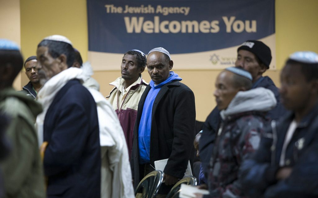 Israeli men who immigrated from Ethiopia during the Sigd holiday, last week (photo credit: Yonatan Sindel/Flash90)