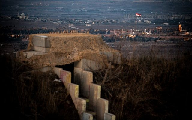 A view of the Syrian town of Quneitra as seen from the Israeli Golan Heights, November 12, 2012 (photo credit: Flash90)