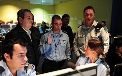 Defense Minister Ehud Barak supervises a Patriot missile exercise at the Palmachim Air Force base, November 12, 2012 (photo credit: Defense Ministry/Flash90)