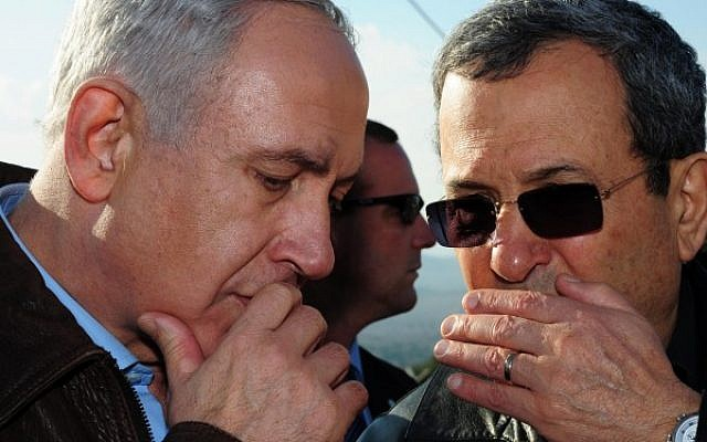 Prime Minister Benjamin Netanyahu and Defense Minister Ehud Barak on Wednesday, November 14, 2012, the first day of Operation Pillar of Defense in Gaza (Kobi Gideon/GPO/Flash90)