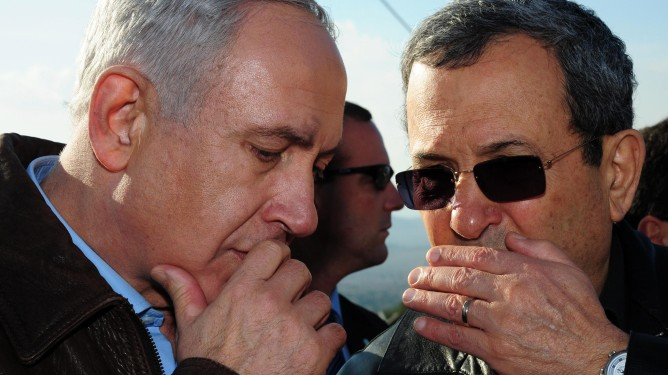 Prime Minister Benjamin Netanyahu and Defense Minister Ehud Barak on Wednesday, November 14, the first day of Operation Pillar of Defense (photo credit: Kobi Gideon/GPO/Flash90)