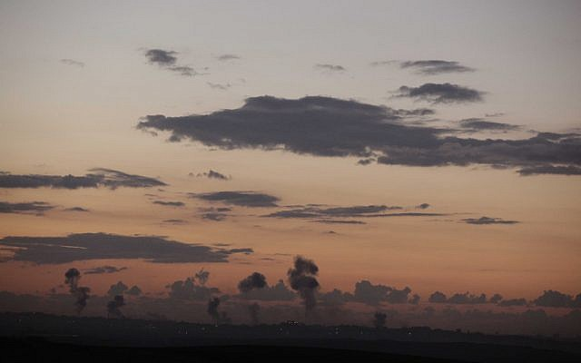Smoke from Israeli air strikes rising over Gaza on Wednesday (Photo credit: Edi Israel/ Flash 90)