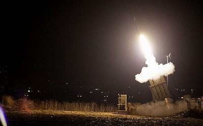 Illustrative. The Iron Dome anti-missile battery fires a defensive shell near Beersheba during Operation Pillar of Defense. (Edi Israel/Flash90)
