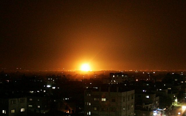Illustrative: An explosion is seen in the skies over Gaza in a 2012 airstrike (Abed Rahim Khatib / Flash90)