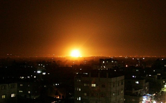 An explosion is seen following an Israeli airstrike in Rafah, in the southern Gaza Strip in 2012 (photo credit: Abed Rahim Khatib/Flash90)