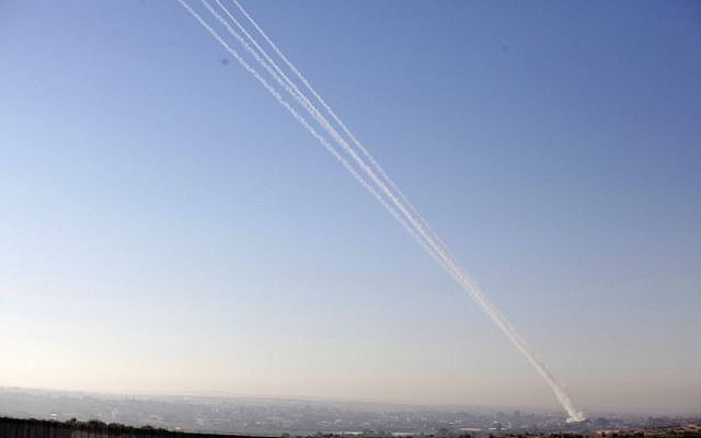 A volley of rockets fired from the Gaza Strip on November 15, 2012. (photo credit: Edi Israel/Flash90)