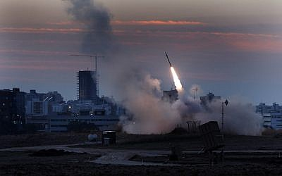 The Iron Dome defense system fires to intercept incoming rockets from Gaza during Operation Pillar of Defense. (photo credit: Tsafrir Abayov/Flash90)