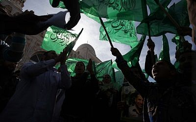 Hamas supporters rally in the West Bank, November 2012 (photo credit: Flash90)