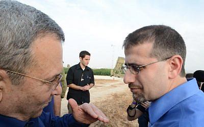 Defense Minister Ehud Barak (left) with US Ambassador Daniel Shapiro next to an  Iron Dome battery on Sunday (photo credit: Matty Stern/US Embassy Tel Aviv/Flash90)