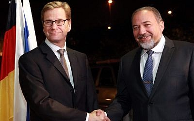 Foreign Minister Avigdor Lieberman (right) with his German counterpart Guido Westerwelle in Jerusalem, Monday (photo credit: Yossi Zamir/Flash90)