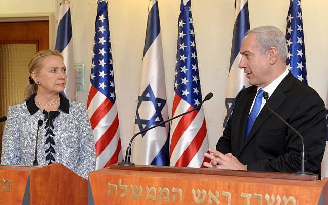 US Secretary of State Hillary Clinton addresses the press with Prime Minister Benjamin Netanyahu in Jerusalem, November 20, 2012 (Avi Ohayon/ GPO/Flash90)