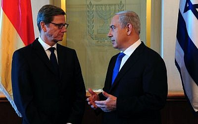 Prime Minister Benjamin Netanyahu meets with German Foreign Minister Guido Westerwelle in Jerusalem, November 20, 2012 (photo credit: Kobi Gideon/GPO/Flash90)