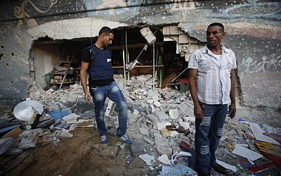 A shop in the coastal city of Ashdod that was hit by a rocket from Gaza on Tuesday (photo credit: Miriam Alster/Flash90)