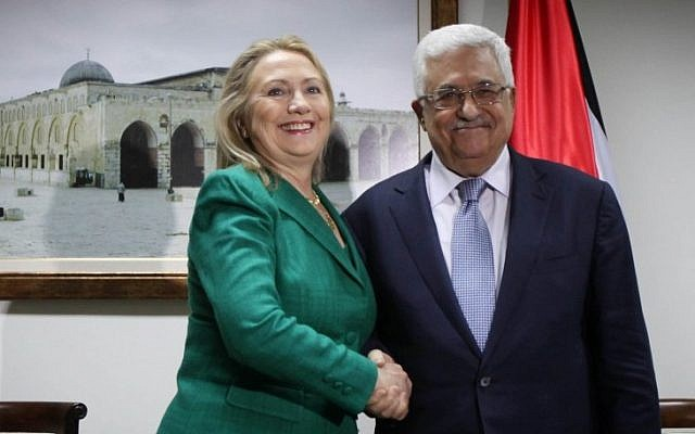 Palestinian President Mahmoud Abbas meeting with US Secretary of State Hillary Clinton last week in Ramallah (photo credit: Issam Rimawi/Flash90).