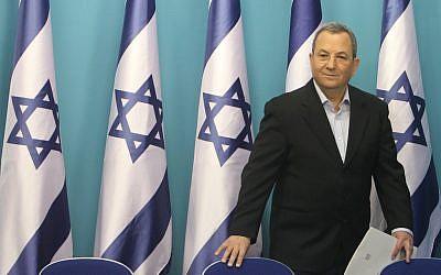 Ehud Barak at a press conference last week. (photo credit: Miriam Alster/Flash90)