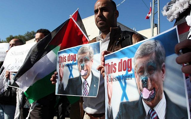 A Palestinian man in Ramallah protests against Canada's Prime Minister Stephen Harper.  Canada is voting against the Palestinian request to upgrade its status in the UN (photo credit: Issam Rimawi/Flash90)