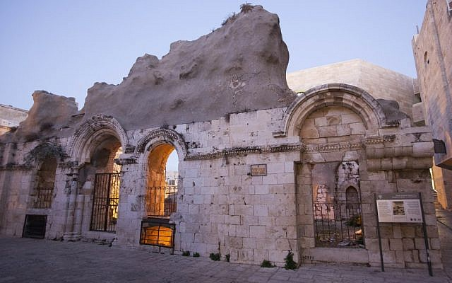 The ruins of the Tiferet Yisrael Synagogue in the Old City of Jerusalem, on November 28, 2012 (photo credit: Yonatan Sindel/Flash90)