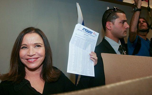 Labor chairwoman Shelly Yachimovich casts her vote in Labor party primaries,  November 30, 2012 (photo credit: Roni Schutzer/Flash90)