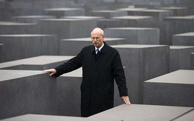 Stuart E. Eizenstat, the chief negotiator of the Jewish Claims Conference, walks through the Holocaust Memorial in Berlin in 2011. (Markus Schreiber/AP)