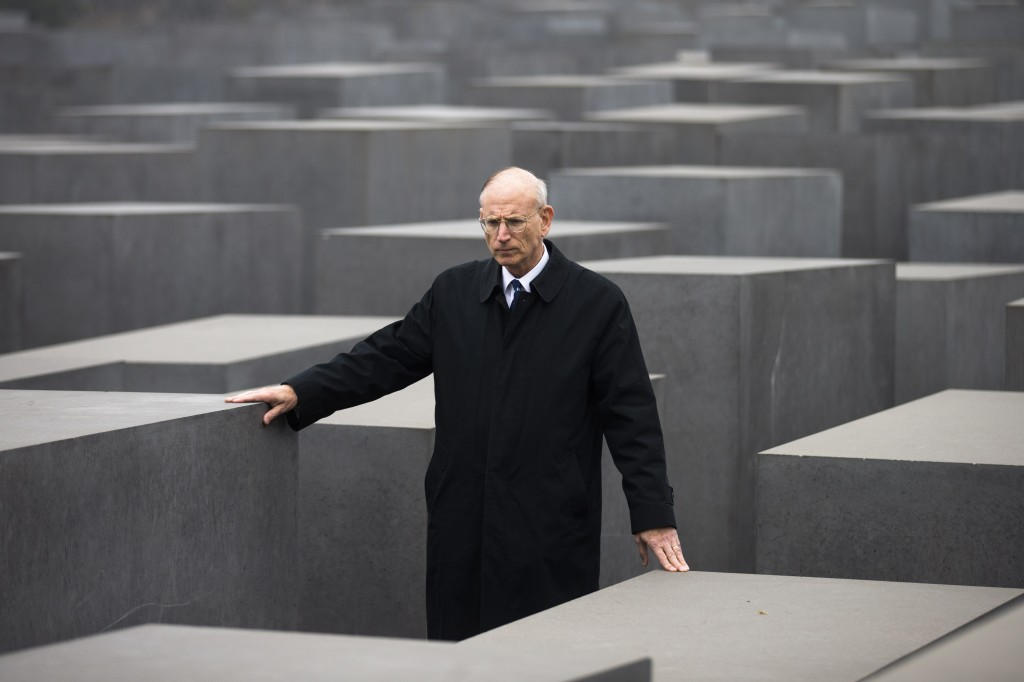 Stuart E. Eizenstat, the chief negotiator of the Jewish Claims Conference, walks through the Holocaust Memorial in Berlin on Thursday. (Markus Schreiber/AP)