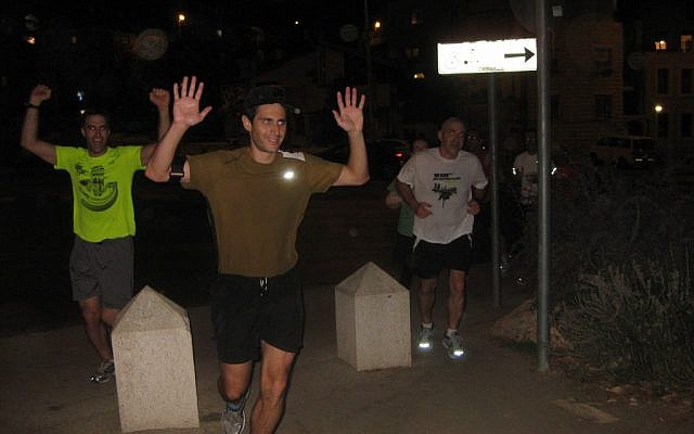 "Matt Krieger completes his Jerusalem ""Matt-athon"" after Hurricane Sandy forced the cancellation of the NYC Marathon (photo credit: courtesy)"