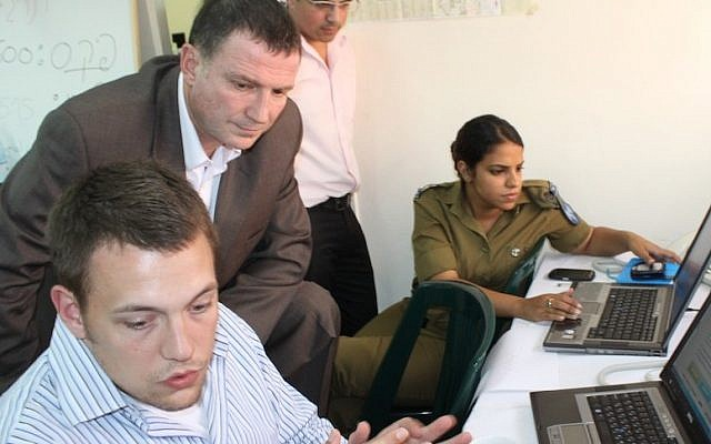 Minister Yuli Edelstein (center) in the Social Media Operations Center (Photo credit: Courtesy)