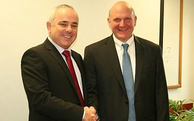 Then-Microsoft CEO Steve Ballmer (left), new Clippers owner, visits Israel in 2012.  (Pictured with him is then finance minister Yuval Steinitz (photo credit: courtesy Finance Ministry spokesman)