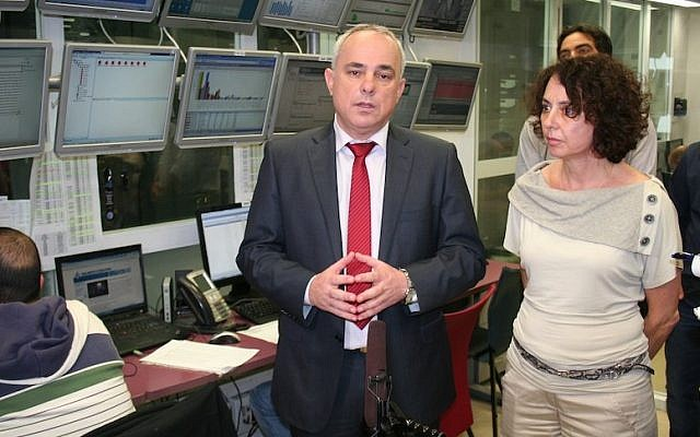 FInance Minister Yuval Steintz and Chief Information Officer Carmela Avner at the Government Computing Center in Jerusalem (Photo credit: Courtesy)
