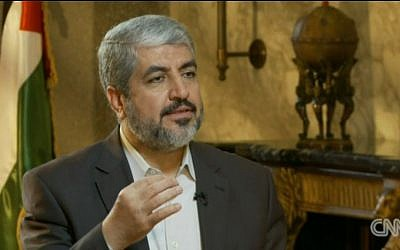 Khaled Mashaal speaks to CNN last month (photo credit: screen capture/cnn.com)