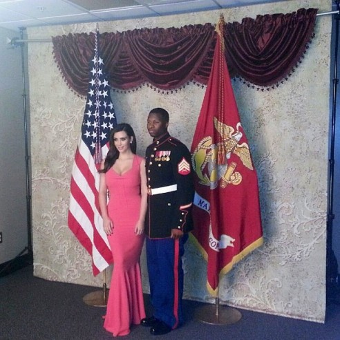 Kim Kardashian supporting the troops at the Marine Corps Ball (Courtesy Instagram)