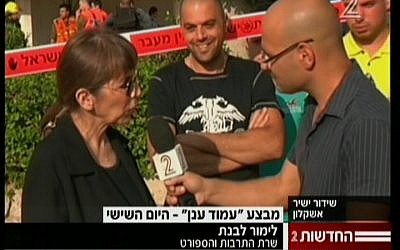 Culture and Sports Minister Limor Livnat is interviewed during a visit to Ashkelon (screen capture: Channel 2)