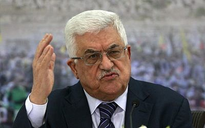 Palestinian President Mahmoud Abbas speaks during a meeting of the Palestinian leadership at his compound in the West Bank city of Ramallah, on Nov. 16 (photo AP/Majdi Mohammed)