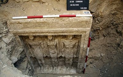 This Thursday,Oct. 11, 2012 photo released Friday, Nov. 2, 2012 by Egypt's Supreme Council of Antiquities, shows recently discovered statues of two men and a woman in a complex of tombs, including one of a pharaonic princess, in the Abusir region, south of Cairo, Egypt (photo credit: AP/Egypt's Supreme Council Of Antiquities)