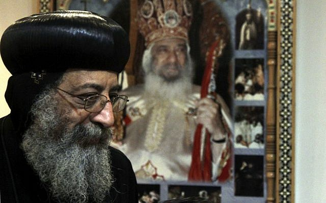 Bishop Tawadros, 60, soon to be Pope Tawadros II after being named the 118th Coptic Pope in the Wadi Natrun Monastery complex northwest of Cairo, Egypt, Sunday, Nov. 4, 2012. (photo credit:/Roger Anis, El Shorouk Newspaper/AP)